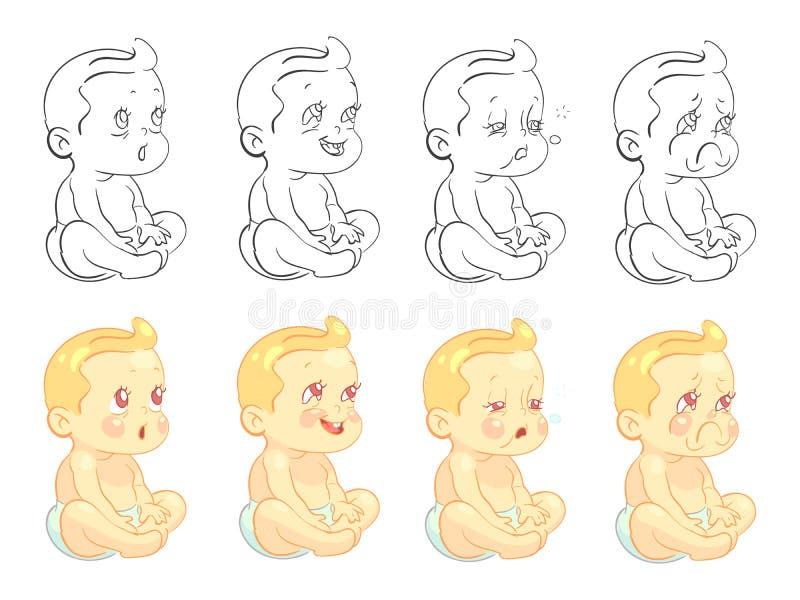 Página bonito emocional da coloração do bebê com as amostras isoladas no fundo branco ilustração royalty free
