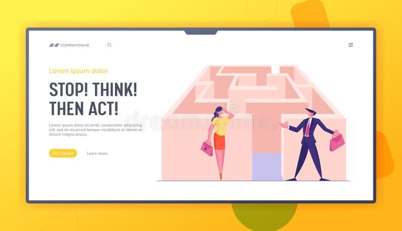 Página Camino al Éxito en Maze Website Landing Confundida empresaria y empresaria en la entrada del laberinto stock de ilustración
