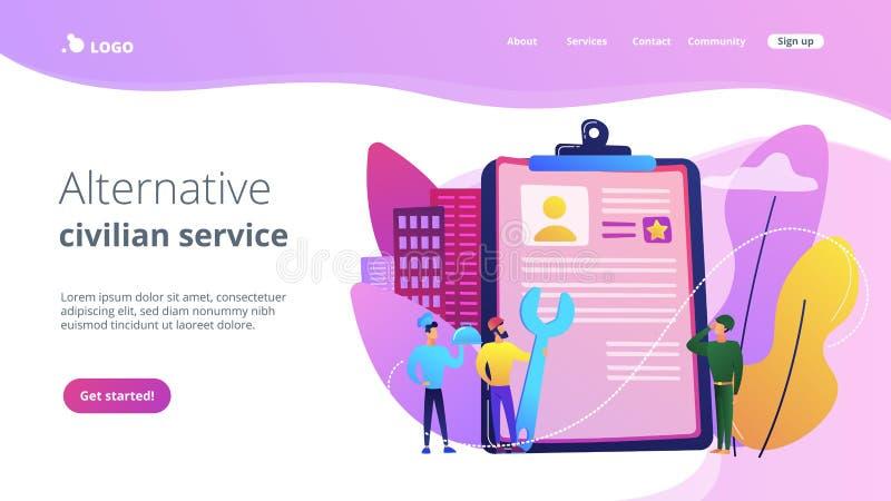 Página civil alternativa da aterrissagem do conceito do serviço ilustração stock