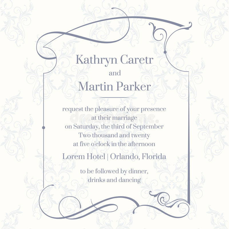 Página clásica del diseño Tarjetas de la plantilla Invitación de la boda ilustración del vector