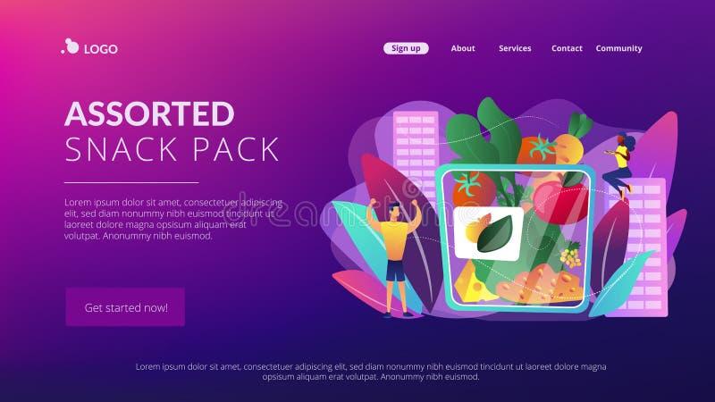 Página clasificada del aterrizaje del concepto del paquete del bocado libre illustration