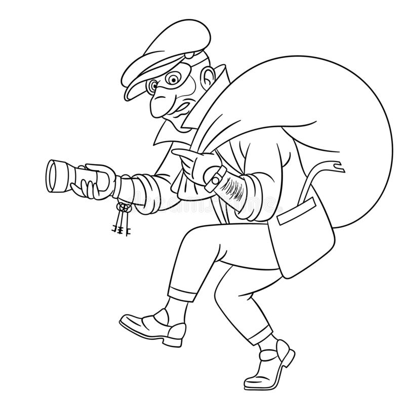 Página coloreada con ladrón criminal stock de ilustración