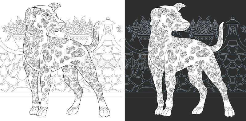 Página colorindo com cão dalmatian ilustração royalty free