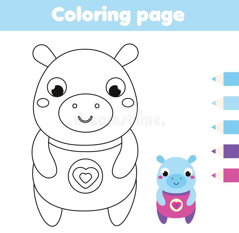 Página colorindo com hipopótamo O desenho ca?oa a atividade Divertimento imprim?vel para crian?as e crian?as ilustração stock