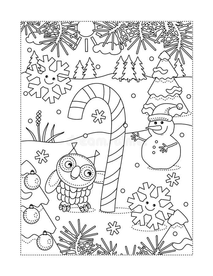 Página colorindo com o bastão de doces mágico grande ilustração royalty free