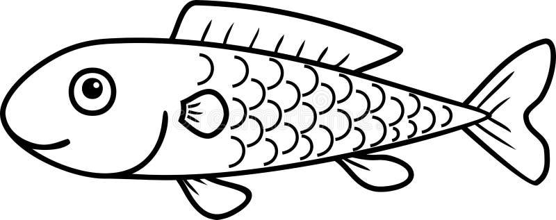 Página colorindo com os peixes bonitos dos desenhos animados ilustração stock