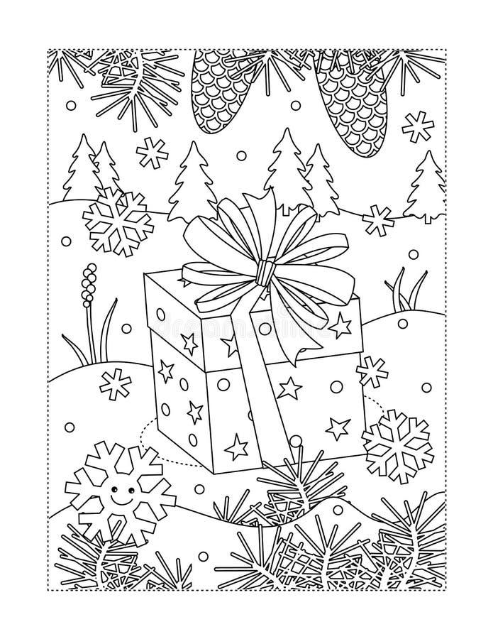 Página colorindo com presente do feriado ilustração royalty free
