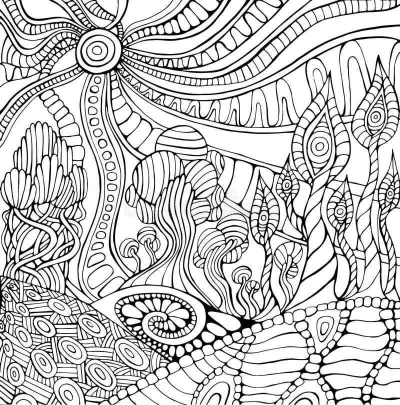 Página colorindo da paisagem surreal da garatuja para adultos Psy fantástico ilustração royalty free