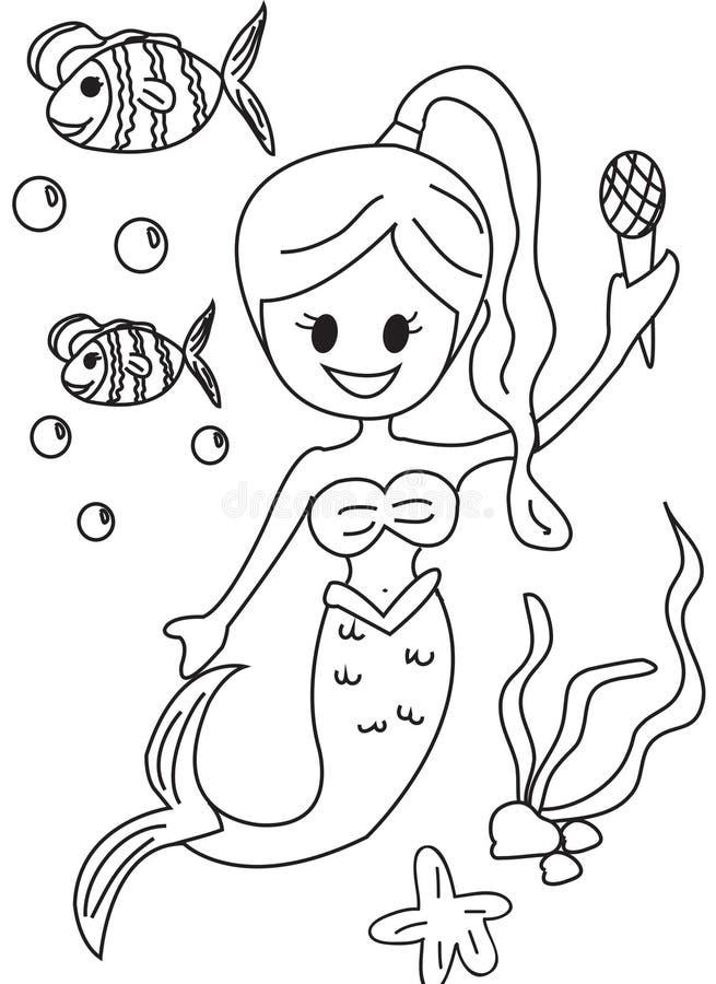 Página colorindo tirada mão de uma sereia ilustração royalty free