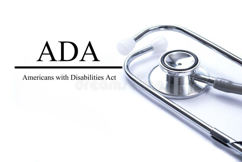 A página com ADA Americans com inabilidades atua na sagacidade da tabela imagem de stock royalty free