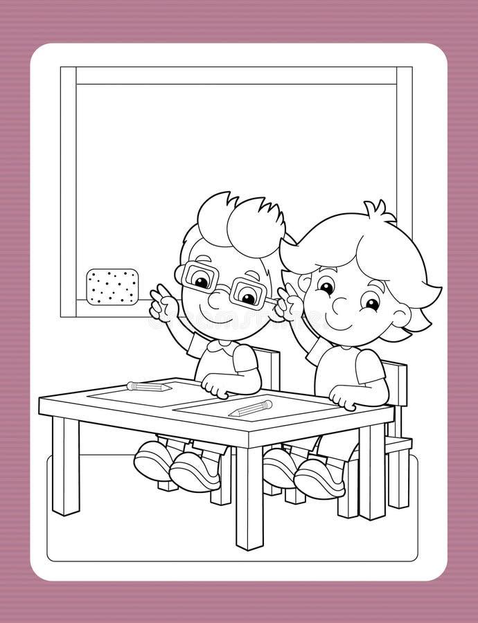 A página com exercício - o tema da coloração da escola - ilustração para as crianças ilustração royalty free