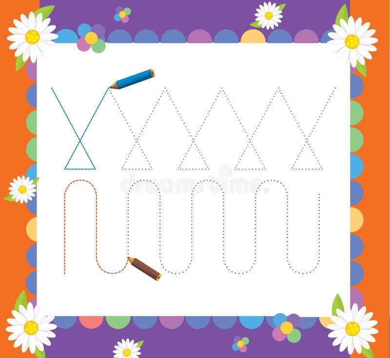 A página com exercícios para crianças - ilustração para as crianças ilustração stock