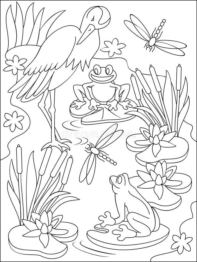 Página com ilustração preto e branco do pântano para colorir ilustração stock