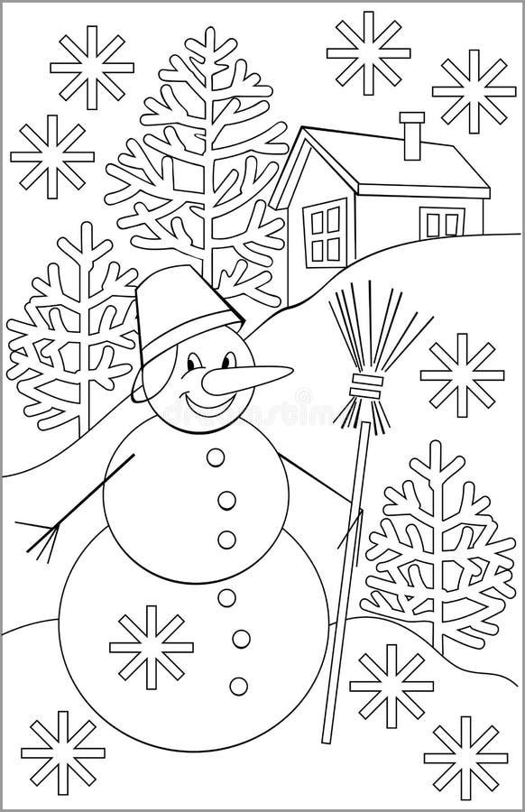Página com o desenho preto e branco do boneco de neve para colorir ilustração stock