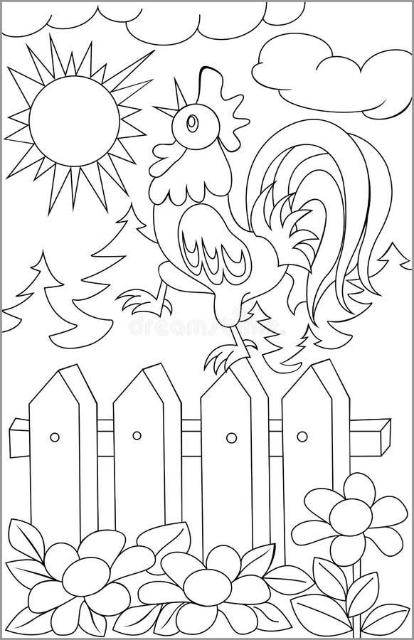 Página com o desenho preto e branco do galo para colorir ilustração stock