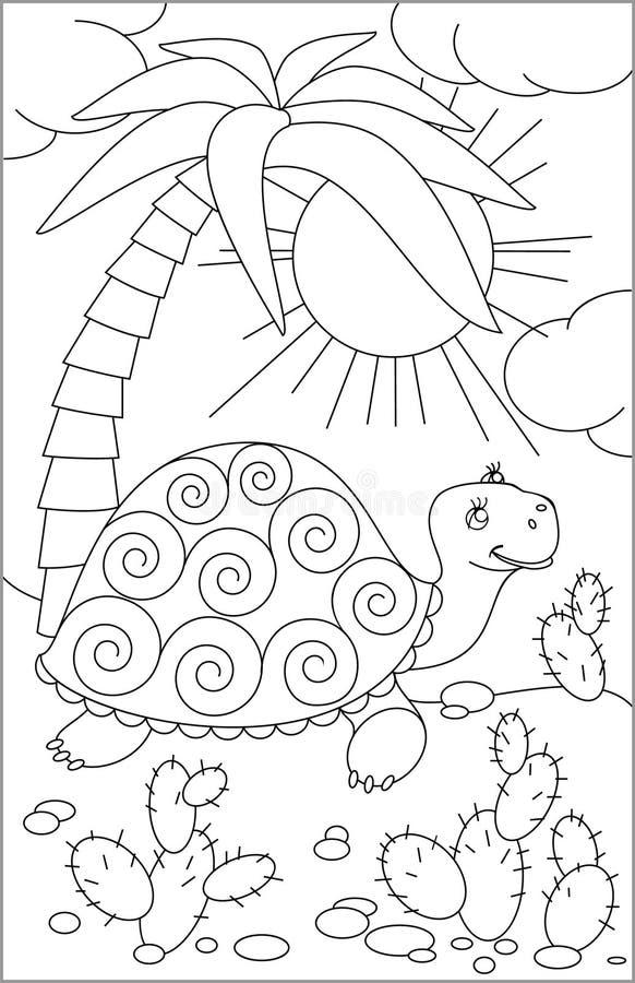 Página Con El Dibujo Blanco Y Negro De La Tortuga Para Colorear ...