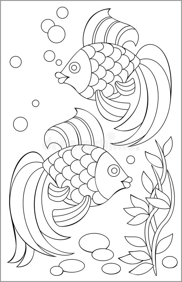 Página con el dibujo blanco y negro de los pescados para colorear stock de ilustración