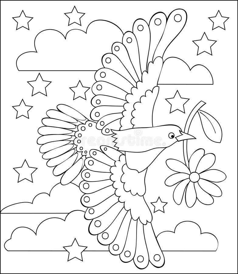 Página con el ejemplo blanco y negro del pájaro de vuelo para colorear libre illustration