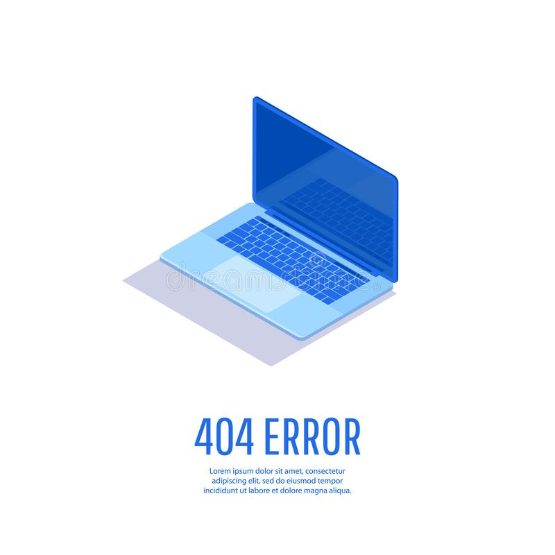 Página con la página de 404 errores en la exhibición del ordenador portátil fotografía de archivo libre de regalías