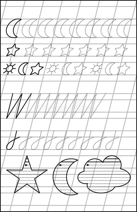Página con los ejercicios para los niños jovenes en línea stock de ilustración