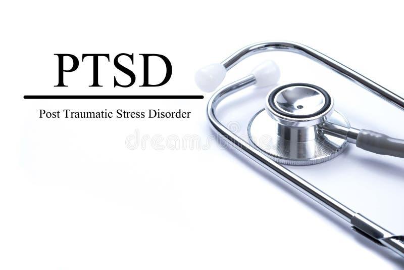 Página con PTSD - fije el desorden traumático de la tensión Hombres del veterano de guerra foto de archivo libre de regalías