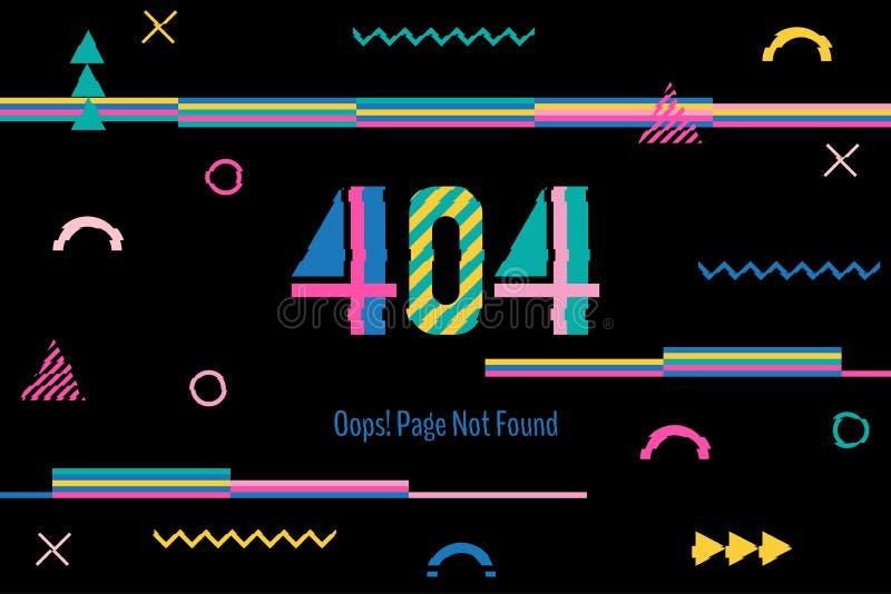 Página con un error 404 en el estilo popular de Memphis La plantilla divulga que la página no está encontrada Interferencia del o libre illustration