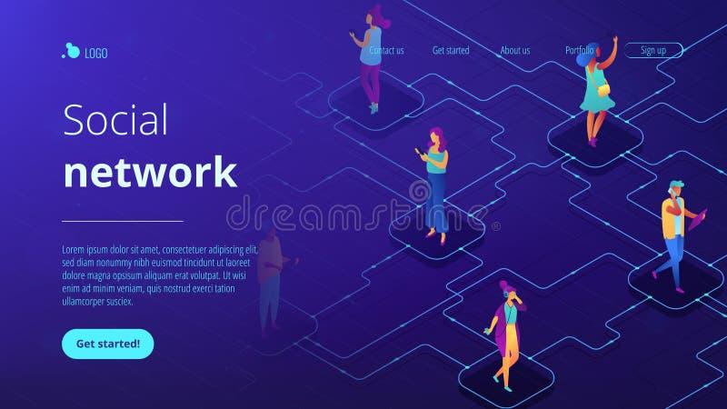 Página 3D de aterrissagem isométrica da rede social ilustração do vetor