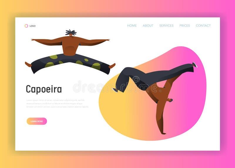 Página da aterrissagem da dança do combate do homem de Capoeira Brasil Pino Latino Samba Dancer National Brazilian acrobático do  ilustração stock