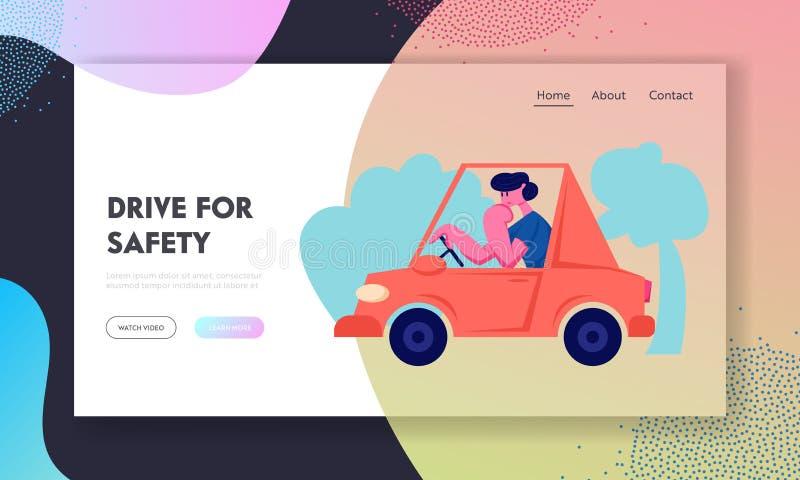 Página da aterrissagem de Riding Auto Website do motorista, tráfego de cidade, homem que conduz o carro vermelho, transporte no e ilustração do vetor