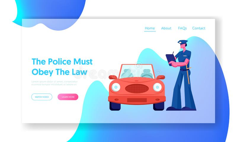 Página da aterrissagem de Write Fine Website do agente da polícia Proteção da lei, inspetor do tráfego de carro, violação de tráf ilustração stock