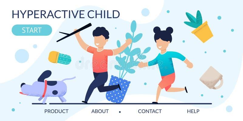 Página da aterrissagem do comportamento de problema das crianças agitados ilustração royalty free