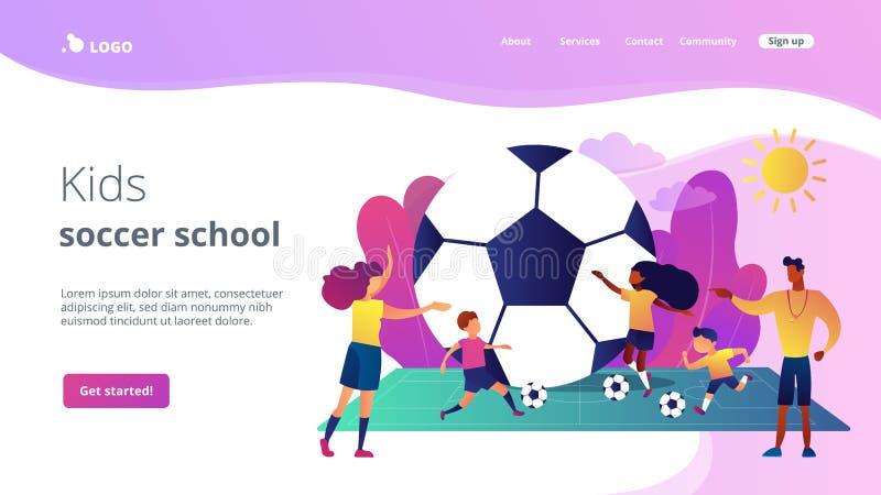 Página da aterrissagem do conceito do acampamento do futebol ilustração stock