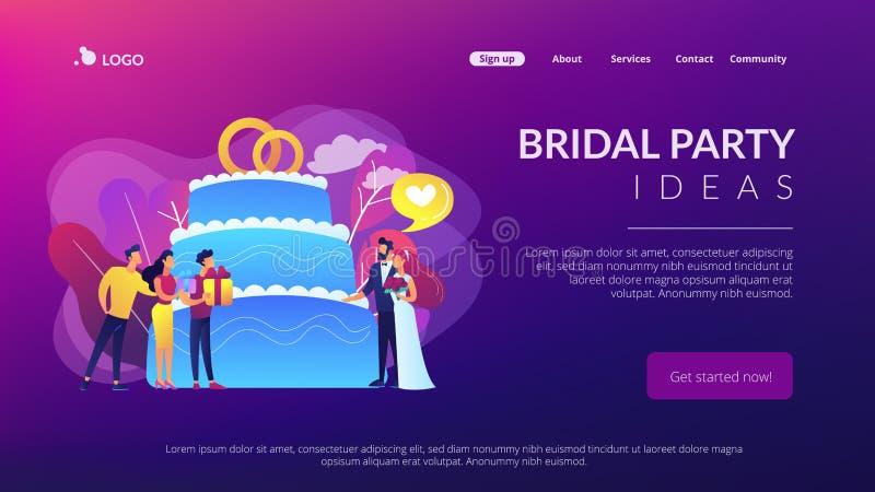 Página da aterrissagem do conceito do banquete de casamento ilustração do vetor