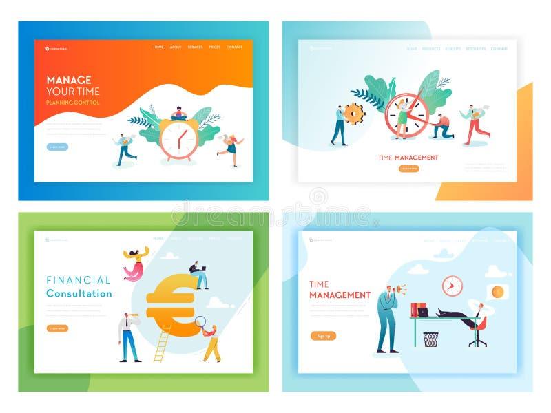 Página da aterrissagem do conceito das horas extras do fim do prazo do negócio ilustração stock