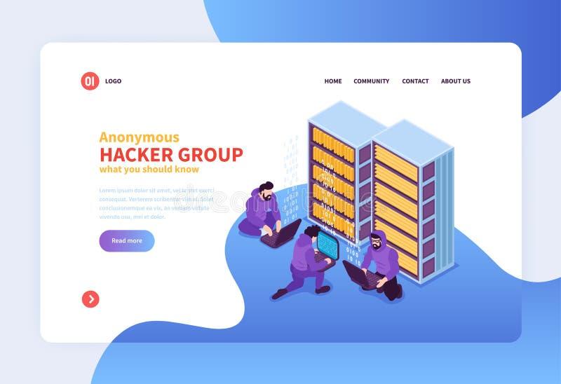 Página da aterrissagem do grupo do hacker ilustração royalty free