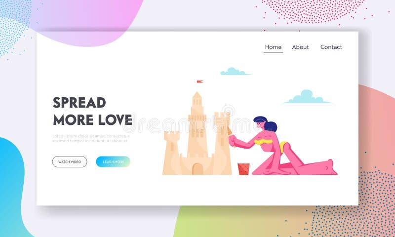 Página da aterrissagem do Web site das férias do verão, jovem mulher no castelo da areia da construção do biquini na praia, menin ilustração do vetor