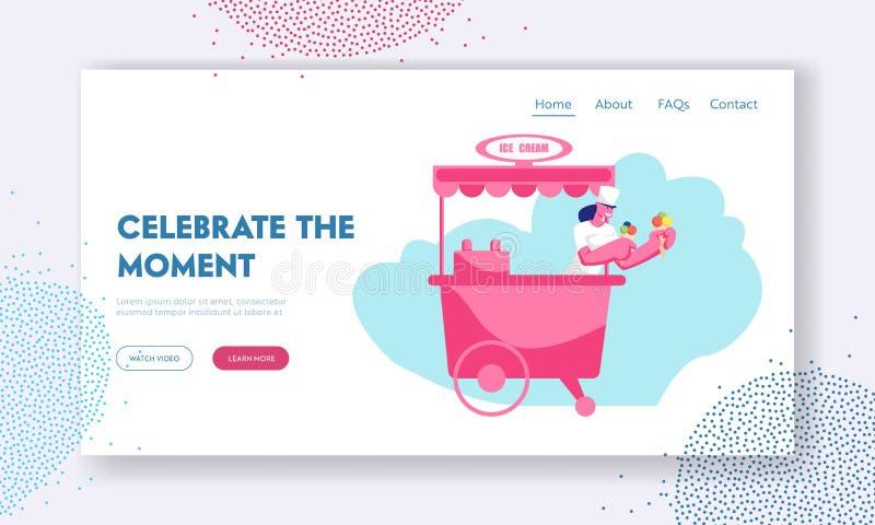 Página da aterrissagem do Web site do deleite do verão, mulher das vendas que guarda cones do waffle do gelado com a sobremesa co ilustração royalty free