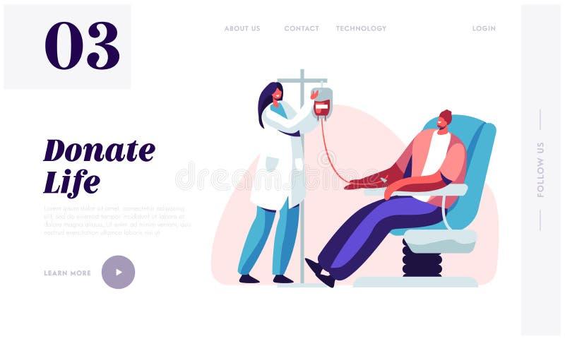 Página da aterrissagem do Web site da doação de sangue O caráter masculino doa o sangue para os povos doentes, enfermeira fêmea T ilustração do vetor