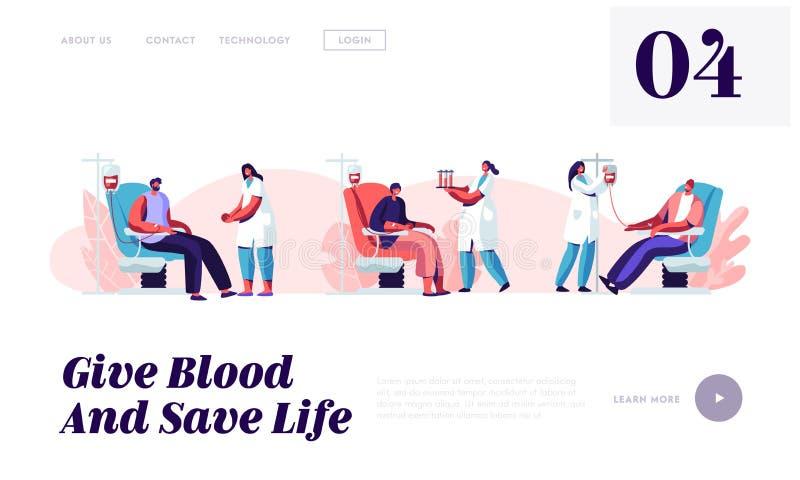 A página da aterrissagem do Web site da doação de sangue, oferece os caráteres masculinos que sentam-se na cadeira médica do hosp ilustração royalty free