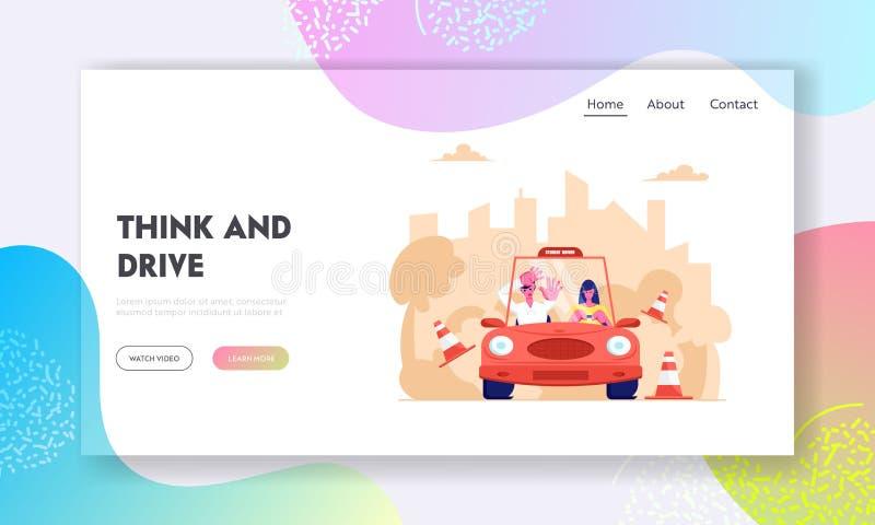 Página da aterrissagem do Web site da escola de condução, principiantes que conduz o carro com instrutor amedrontado Automóvel de ilustração stock