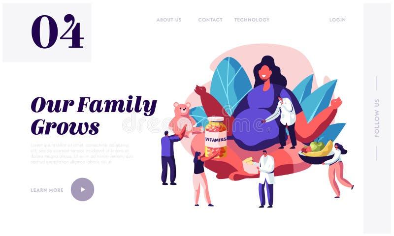 Página da aterrissagem do Web site da gravidez Mulher gravida com a barriga grande que senta-se em Lotus Pose com os povos que dã ilustração stock