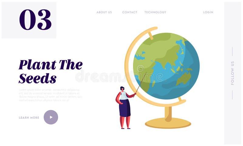 Página da aterrissagem do Web site da lição da geografia ou da ciência natural Professor fêmea Character Stand com o ponteiro no  ilustração stock