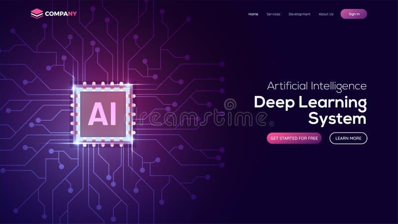 Página da aterrissagem da inteligência artificial (AI) Molde do Web site para ilustração royalty free