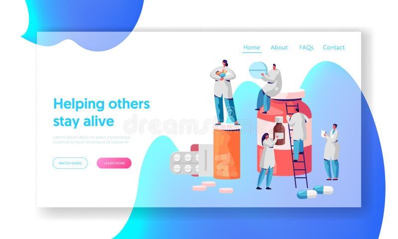 Página da aterrissagem da loja de Character Medicine Drug do farmacêutico Povos profissionais da indústria do negócio da farmácia ilustração stock