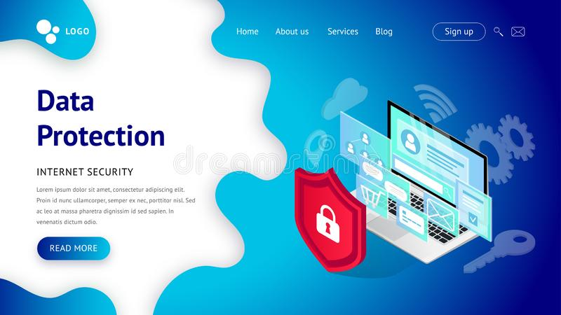 Página da aterrissagem da proteção de dados ilustração royalty free