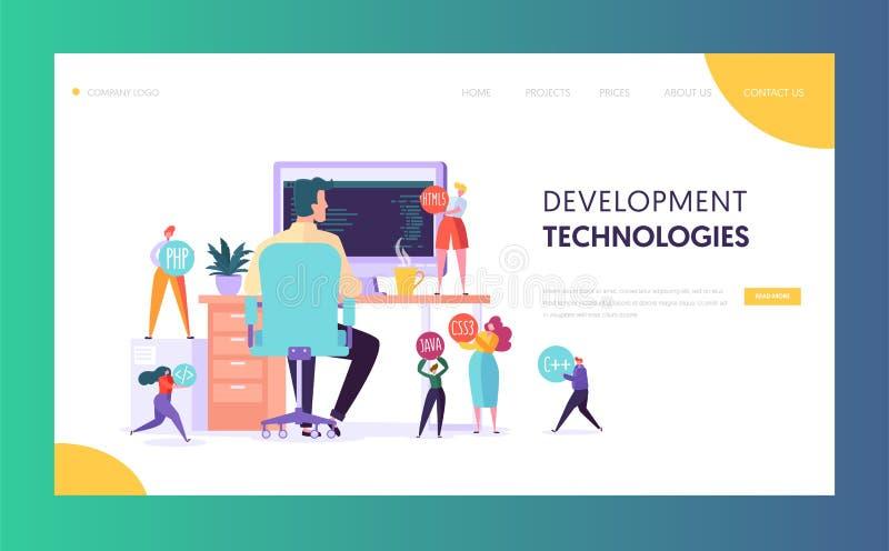 Página da aterrissagem da tecnologia do caráter do programador de software Programador de desenvolvimento Work da Web no computad ilustração royalty free