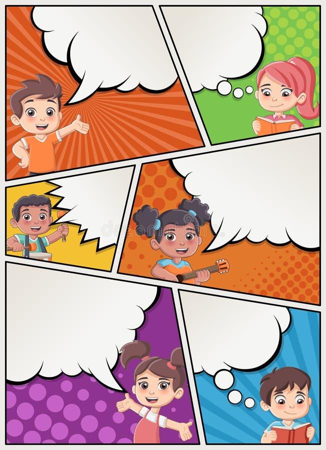 Página da banda desenhada com fala das crianças ilustração do vetor