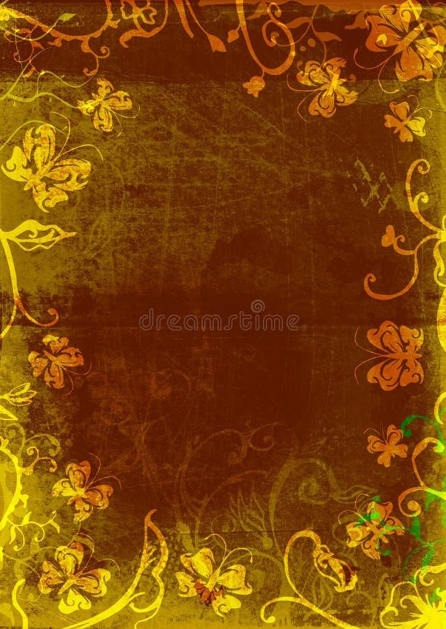 Página da borboleta de Grunge ilustração royalty free