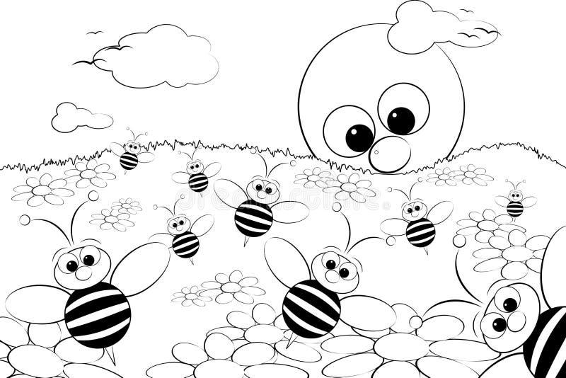 Página da coloração - ajardine com sol e abelhas ilustração do vetor