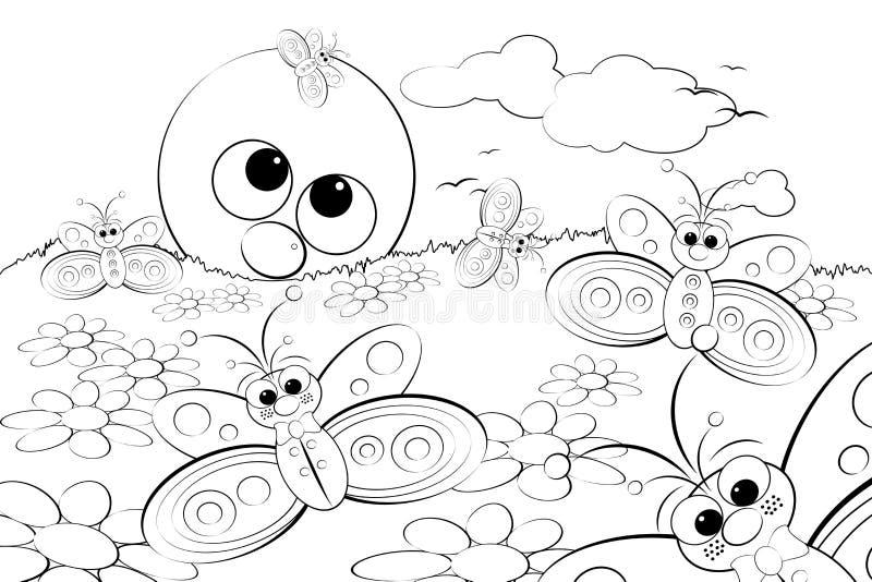 Página da coloração - ajardine com sol e borboletas ilustração royalty free